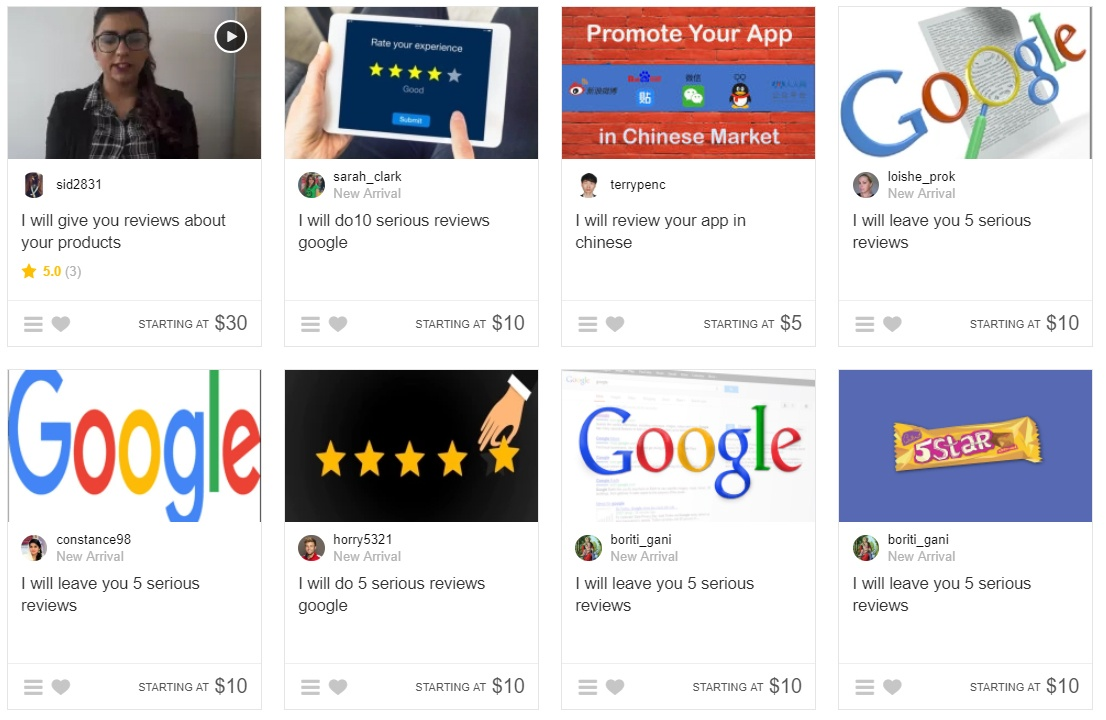 Fake Google Reviews on Fiverr